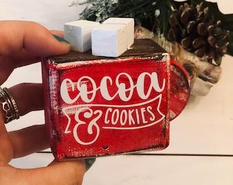 Hot Coco Sign, Hot Cocoa Decor, Christmas Decor, Christmas Tiered Tray, Hot Chocolate Tier Tray, Holiday Tiered Tray, Small Cocoa Sign