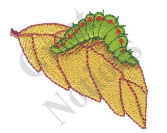 Small Caterpillar On Leaf - Machine Embroidery Design
