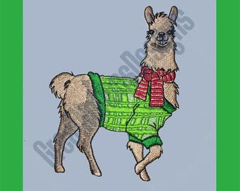 Christmas Llama - Machine Embroidery Design