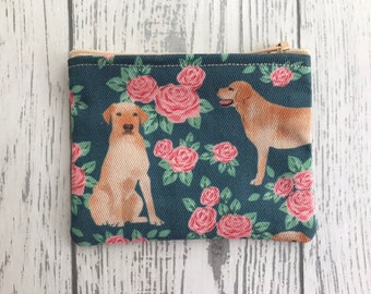stocking filler dog lover gift bags /& purses card holder gifts for women coin purse Chocolate Labrador Dog fabric zip coin purse