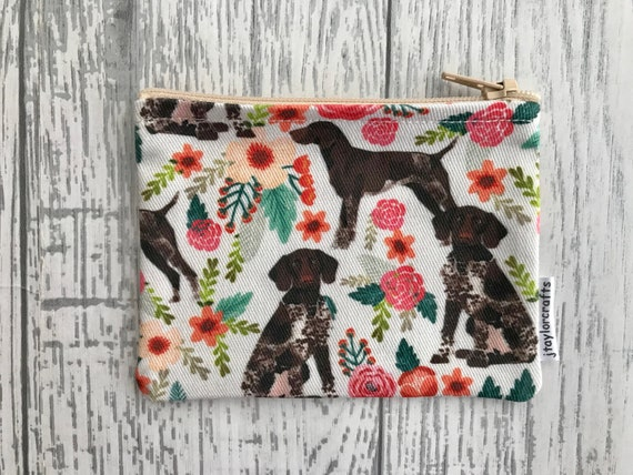 gifts for her bags /& purses card holder Blue German Shorthaired Pointer fabric zip coin purse coin purse dog lover gift