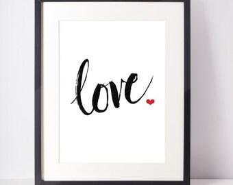 Love, Printable Quote Art, Sumi Ink, Brush Calligraphy, Digital Download Art, heart