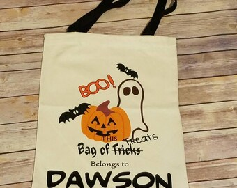 Halloween bag, personalized trick or treat bag, Halloween canvas tote bag, kids Halloween bag, personalized Halloween tote bag