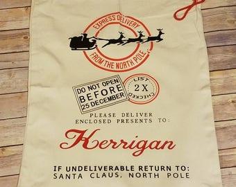 Santa sack, christmas bag, personalized christmas bag,  present bag, large present sack, christmas gift, reindeer bag, canvas christmas bag