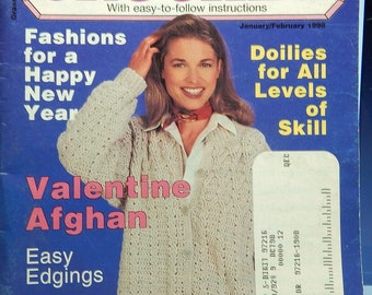 1998 QUICK & EASY CROCHET ..13+ Projects..Jan-Feb Edition..Tdoilies...valentine afghan...edgings...jacket...folk art