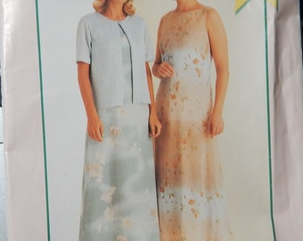 1999 McCall's pattern P414 UNCUT size 8 10 12 14 Misses Easy Stitch N Save Dress and jacket..factory folded