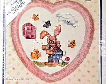 The New Berlin Co. Cross Stitch Kit  30558 Unopened with all needed supplies bunny and balloon