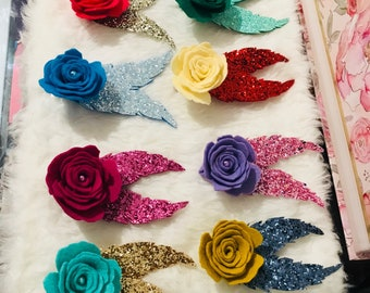 Felt Glower Rosette with Glittered Feathers