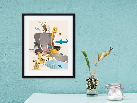 Kinderzimmer-Bild mit Tieren zum Ausdrucken als Geschenk zur Geburt oder  Taufe, JPG-Datei als Sofort-Download in verschiedenen Größen