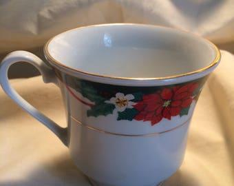 Tienshan Fine China Deck the halls tea cups