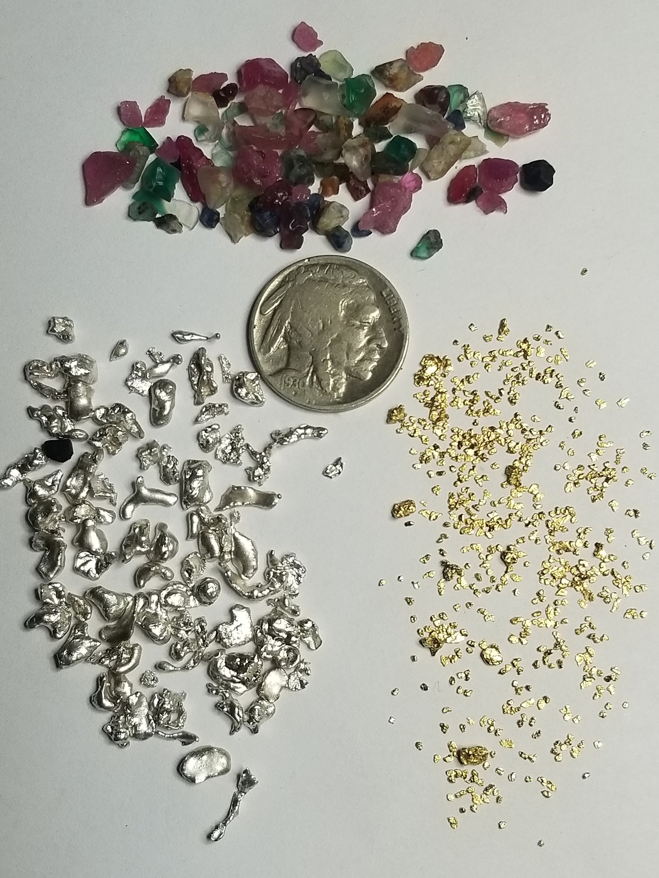 Gold/Silver Pay dirt 20+Gold Nuggets+Beautiful Sapphire,And Ruby's (1/2 lb  Bag)