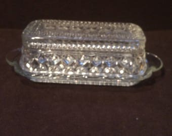 Wexford Cut Crystal Glass Rectangular Covered Butter Dish