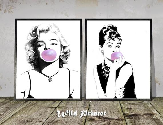 "Audrey Hepburn XL CANVAS PRINT Movie poster Pink 24/""X 36/"""
