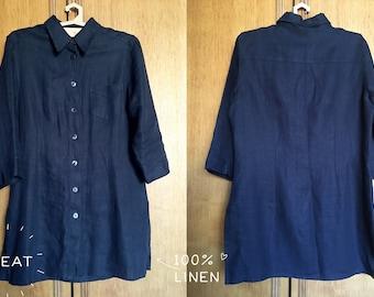 70de1a45e6fb4 Proforma Vintage navy blue pure linen flax woman 3 4 sleeve button up blouse  shirt dress top size M blue linen jacket