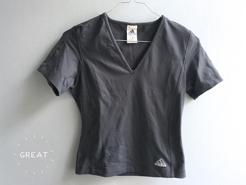 ac4a7f56c102 ADIDAS vintage minimalist dark gray top tee athletic women