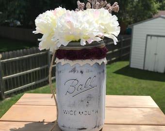 Decorative Mason Jar Floral Shabby Chic Floral  Centerpiece Wedding Centerpiece Home Decor Quart Jar
