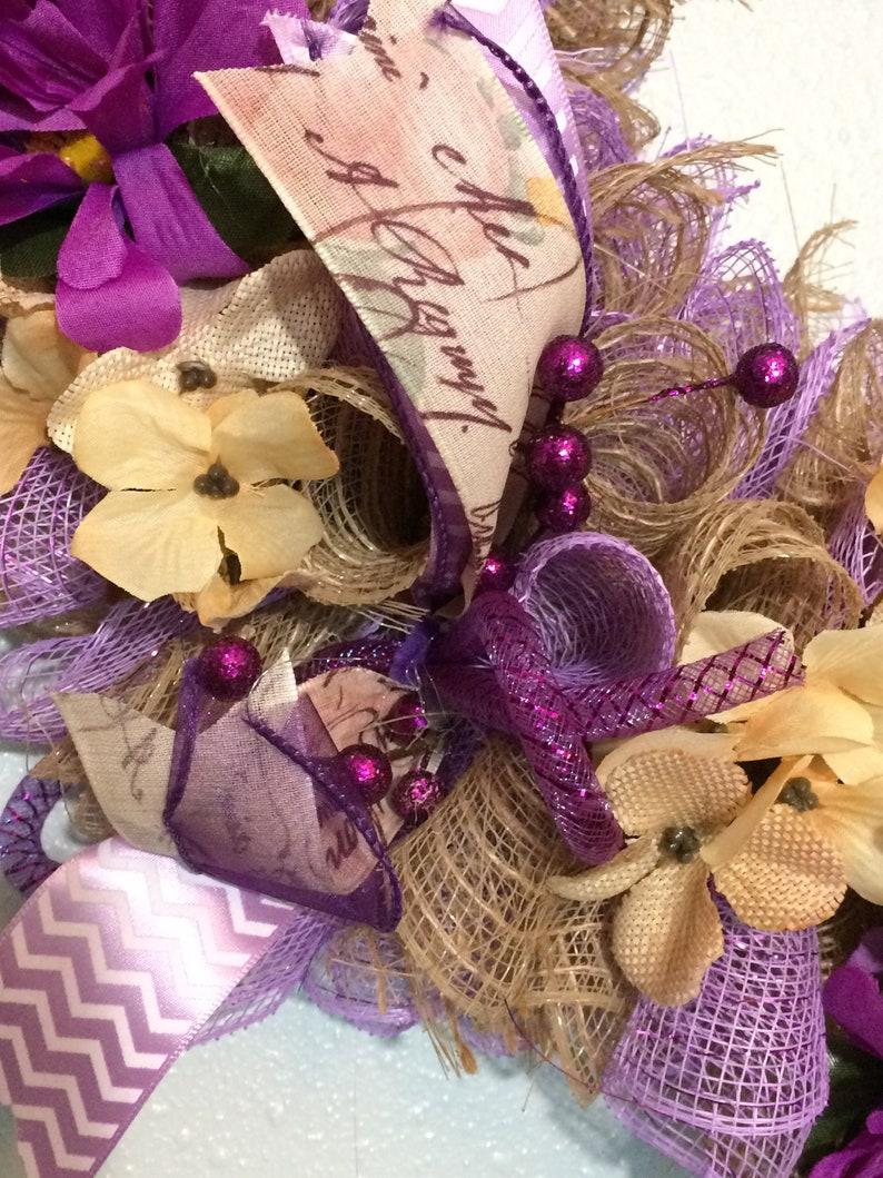 Burlap Wreath Spring Wreath Purple Gerber Daisies Spring Decor Wall Accent