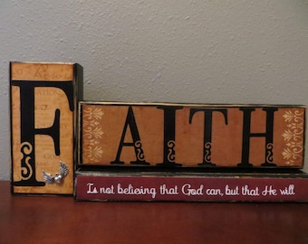Faith Inspirtation Life Word Block Love Family Home Decor Clergy