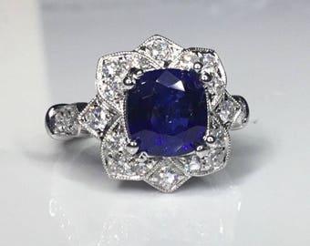 Estate GIA 6.58 CTW Natural Blue Ceylon Sapphire & Diamond Engagement 18K Ring