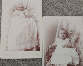 Look How Harold Has Grown! Lot of 2 Cabinet Cards of Harold Richmond Taken at 3 Months and 1 Year, Hogan & Fischer Photography, Petoskey, MI
