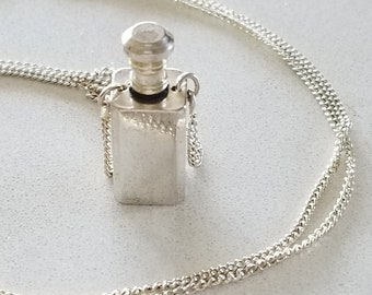 Vintage Silver Perfume Bottle Necklace, Miniature Refillable Perfume Bottle Pendant/Necklace