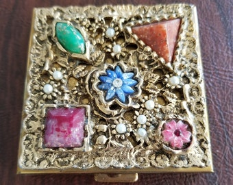 Vintage Jeweled Powder/Mirror Compact, Gold-Toned  Compact w/ Etruscan Influence Using a Lattice Work Design with Pearls and Colorful Jewels