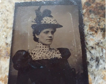 Matching Maid:  Antique Tintype Photograph of Young Woman in Matching Hat and Dress