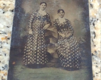 Antique Tintype Photograph of Two Women, Sisters, in Matching Dresses