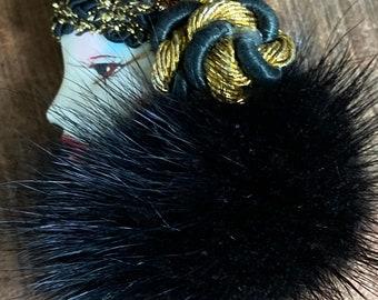 Vintage Fur Hand painted Brooch