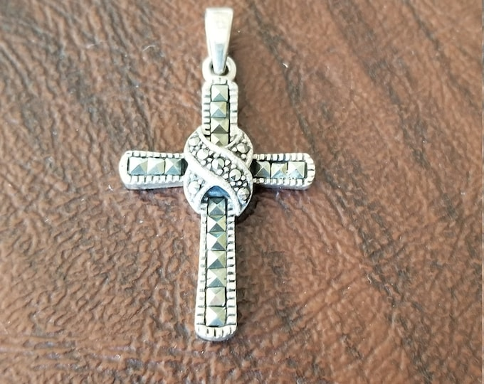 Vintage Sterling Silver and Marcasite Cross Pendant Nicely Detailed Cross Pendant with Round and Square Marcasite Stones