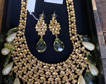 Signed Scaasi runway designer vintage silver tone flower necklace and matching earrings with clear rhinestones in original box