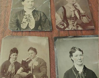 Cool Combs:  Lot of 4 Antique Tintype Photographs of Women Wearing Combs in Their Hair