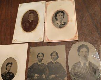 Civil Prints:  Lot of 5 Antique Tintype Photographs of Civil War Era Women Wearing Printed Fabric Dresses