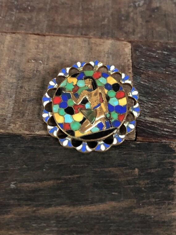 Vintage Egyptian Revival enamel mosaic pin/brooch