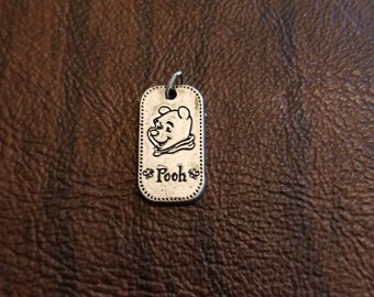 Sterling Silver VDSS Disney Winnie the Pooh Tag Charm/Pendant,  Dog-Tag Style Charm with Engraved Image of Pooh Bear