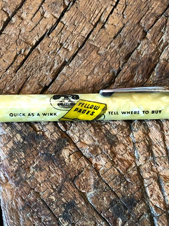 Vintage Telephone Yellow Pages advertising marbleized mechanical pencil