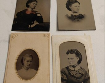 The Beauty of Snoods:  Lot of 4 Antique Tintype Photographs of Women Wearing Snoods in/on Their Hair