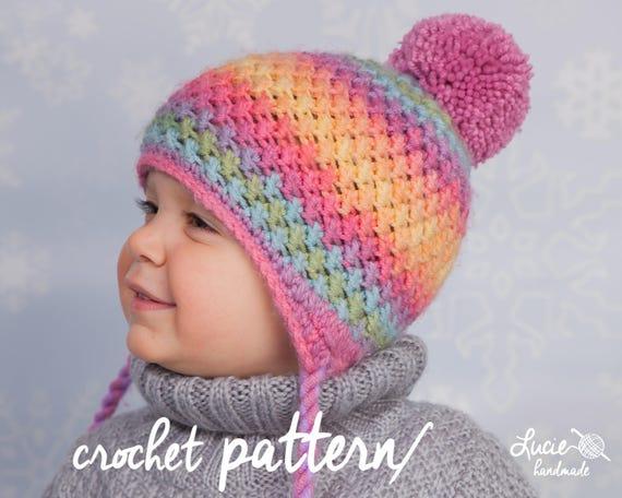 bb3283194e5 Crochet Hat PATTERN No.44 Winter Beanie Winter Hat Crochet