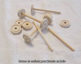 Wheels and axles for wooden toys