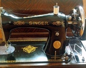 SINGER HAND-CRANK Semi Industrial Sewing Machine with Original Case Many Accessories, Fabulous Haberdashery or Vintage Dress Shop Prop