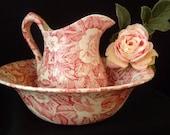 Perfect BURLEIGH VICTORIAN CHINTZ Ewer Bowl, Pink Staffordshire Pitcher and Basin, Jane Austen Style Accessories, Romantic Boudoir Decor