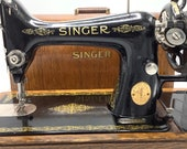 Reserved Reserved SINGER Hand-Crank 99 99K SEWING MACHINE (1929) with Bentwood Case Vintage Seamstress Antique Haberdashery Shop Decor