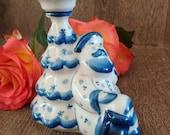Vintage Russian Gzhel Porcelain St Nicholas Candlestick gorgeous Gzhel Christmas Candleholder blue white porcelain kitchenalia