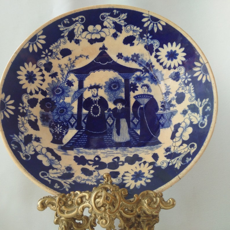 Pair of Flow Blue 19th Century Cabinet Wares Georgian English Porcelain Staple-Repair 200 Year Old Chinoiserie Plates by Hilditch /& Son