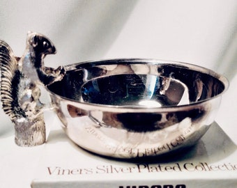 With Original Box! VINERS SQUIRREL BOWL, English (Sheffield) Silver-plated Nut Server, Collectible Barware, Perfect Gift For Squirrel Lover