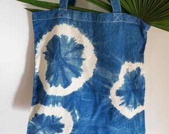 Hand dyed indigo market bag no. 1