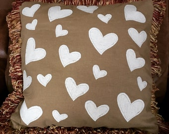 16x16 Tan Linen pillow with hearts