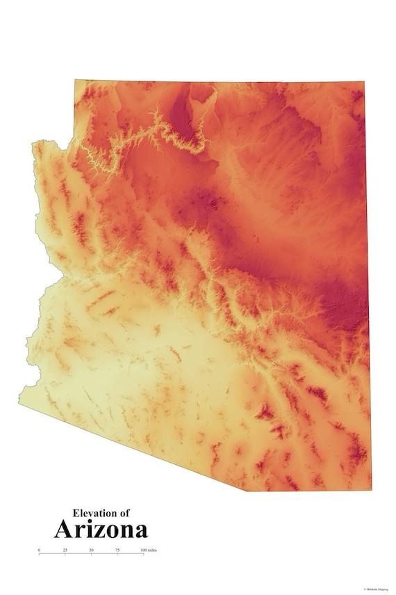 Arizona Elevation Map | Etsy
