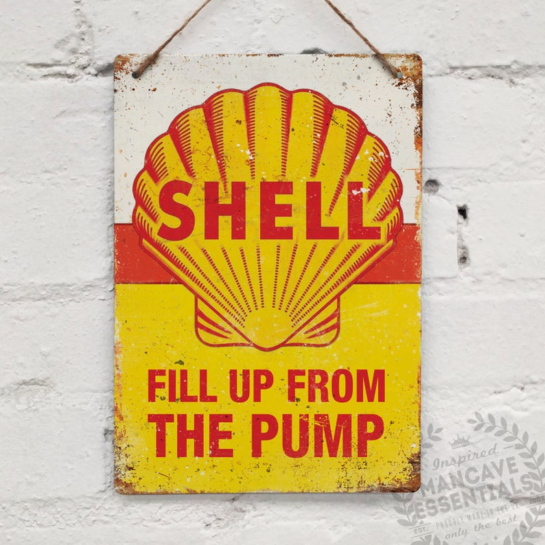 "SHELL OIL /""Fill up.../"" Replica Vintage Metal Wall Sign Plaque Retro Garage Shed"