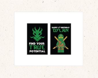 Ninjago Party Kit - Ninjago Tags, Ninjago Signs, Ninjago Birthday, Ninjago Printable, Ninjago Birthday Party, Green Black and White